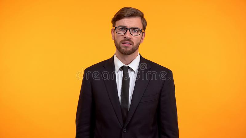 Sad manager feeling sad being ignored, psychological problem, loneliness royalty free stock photos