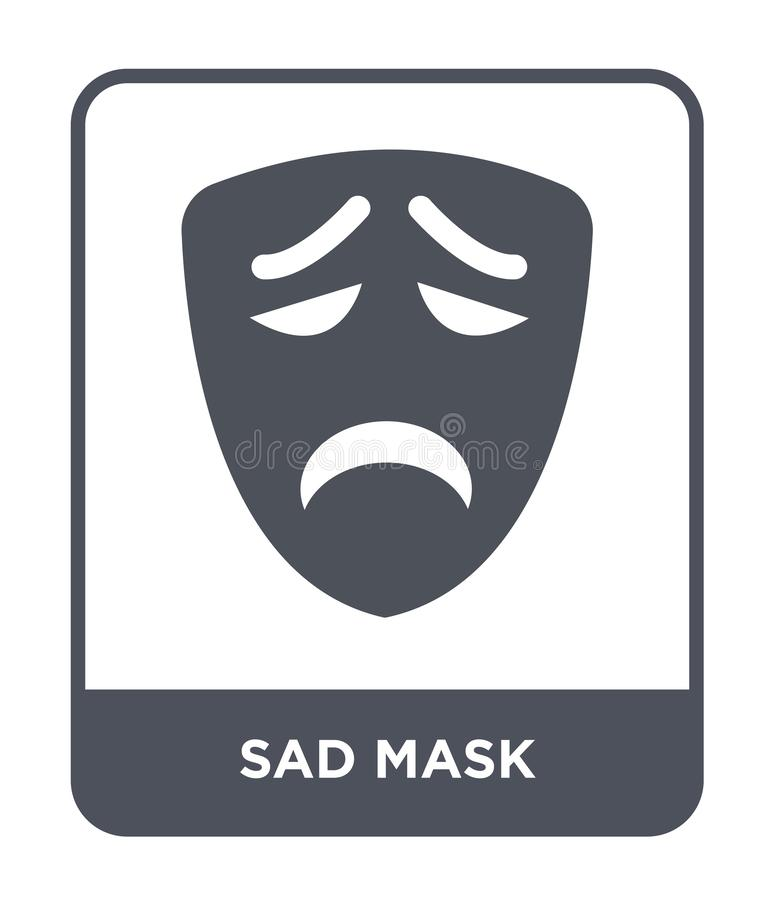 Sad mask icon in trendy design style. sad mask icon isolated on white background. sad mask vector icon simple and modern flat. Symbol for web site, mobile, logo royalty free illustration