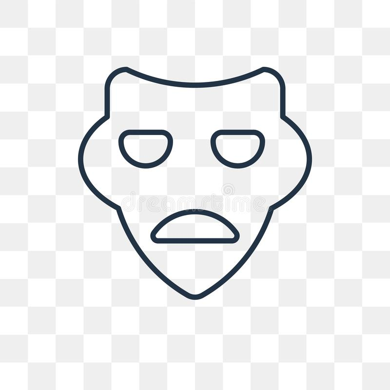 Sad Mask vector icon isolated on transparent background, linear royalty free illustration