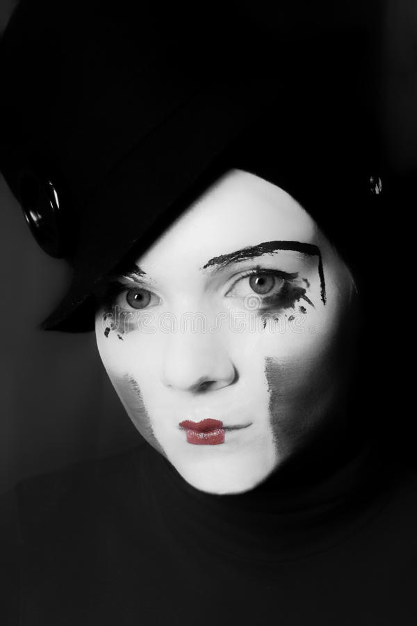 Sad mime in hat. Portrait of sad mime in hat stock photos