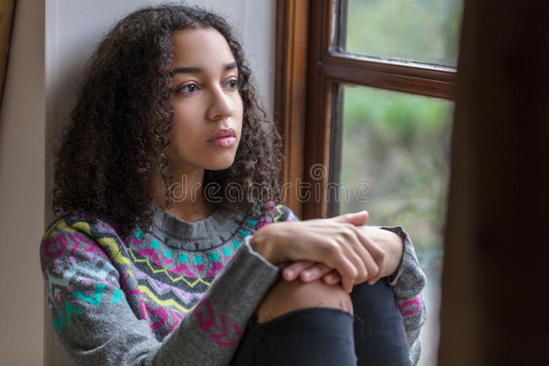Sad Mixed Race African American Teenager Woman royalty free stock photography