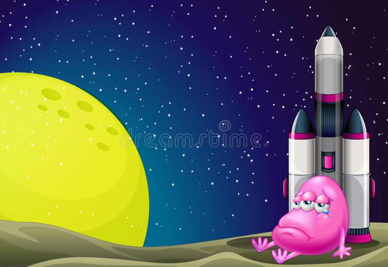 A sad monster beside the rocket in the outerspace vector illustration