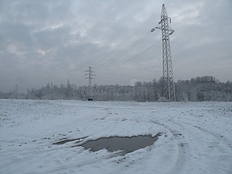 Sad nature winter panorama forest stock photos