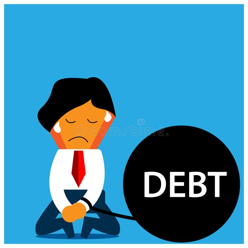 Sad Office Worker with carry debt. The Vector Illustration is showing the concept of Financial. EPS file available. see more images related vector illustration
