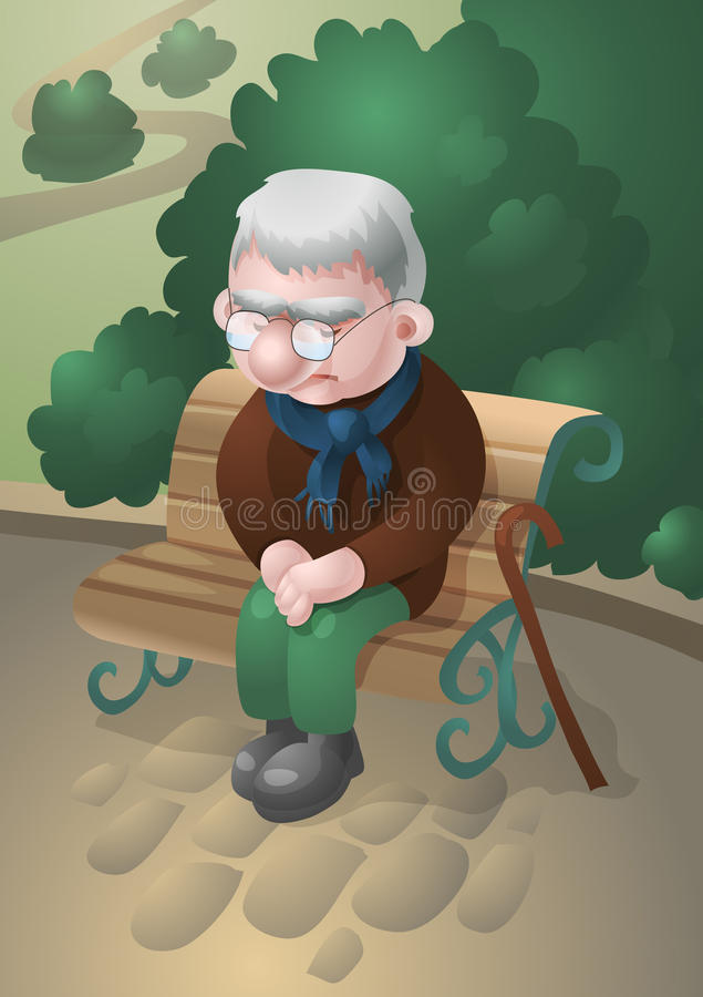 Sad old man stock illustration