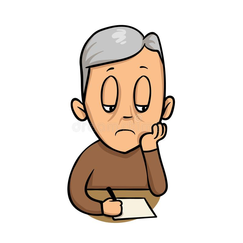 Sad old man writing a note. Flat vector illustration. Isolated on white background. stock illustration