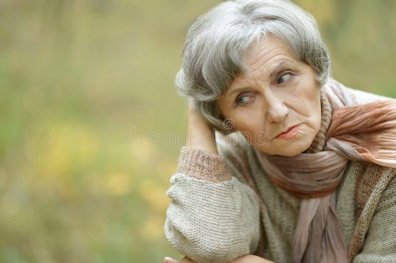 Sad old woman. Nice sad old woman on the autumn background royalty free stock photos
