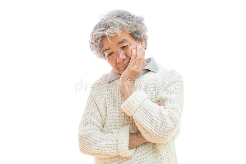 Sad old woman on white background. Anxiety problem concept stock photos
