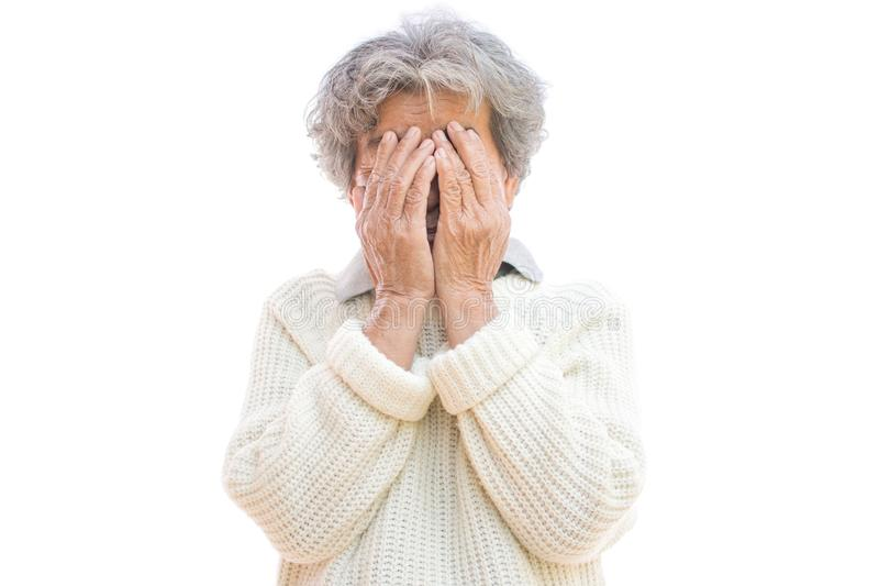 Sad old woman on white background. Anxiety problem concept stock image