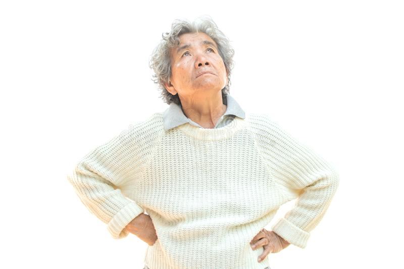 Sad old woman on white background. Anxiety problem concept stock photo