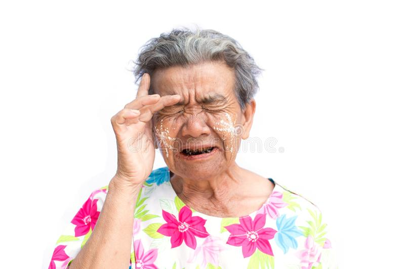 Sad old woman on white background. Anxiety problem concept stock photography