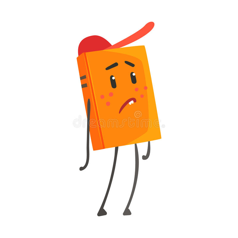Sad orange humanized cartoon book character in a red cap vector Illustration royalty free illustration