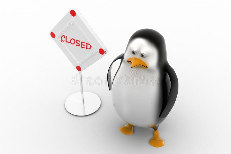 Download Sad Penguin With  Closed Sign Board Stock Illustration - Image: 40462615
