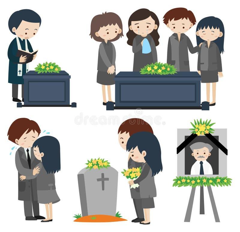 Sad people at the funeral. Illustration royalty free illustration