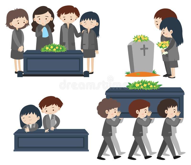 Sad people at funeral. Illustration stock illustration