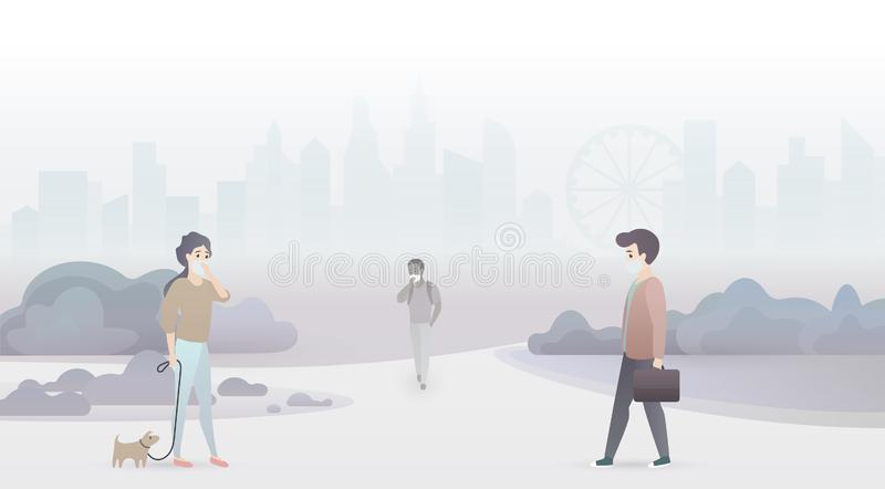 Sad people suffer from air pollution and wear protective masks. Industrial smog city background. royalty free illustration
