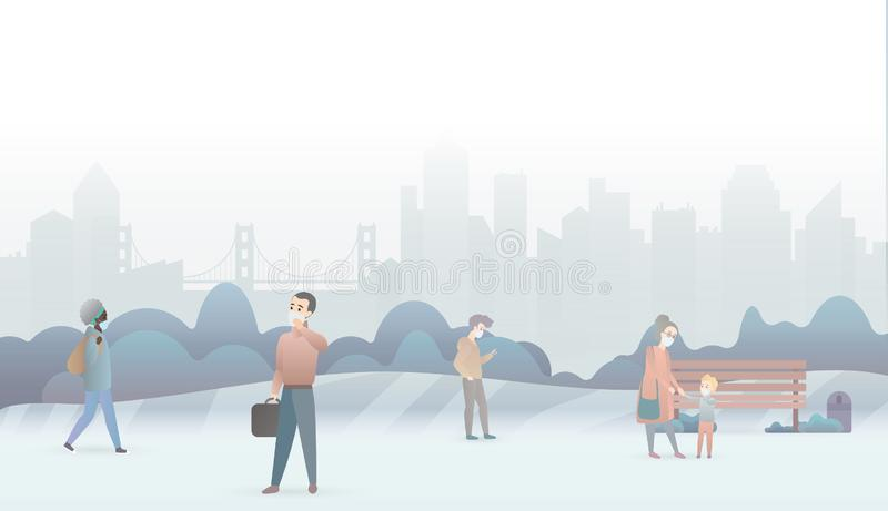 Sad people suffer from air pollution and wear protective masks. Industrial white smog fog city background. Fine dust vector illustration