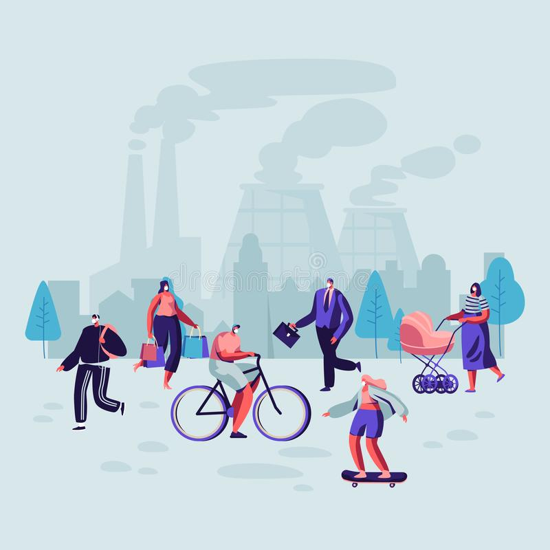Sad People Wearing Protective Face Masks Walking on Street Against Factory Pipes Emitting Smoke. Fine Dust, Air Pollution vector illustration