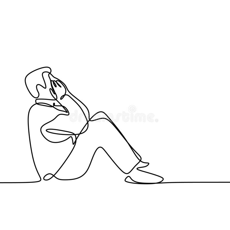 Sad person feeling depression continuous line art drawing  illustration. Sign stress white man male despair people outline tired minimalist woman unhappy worker vector illustration