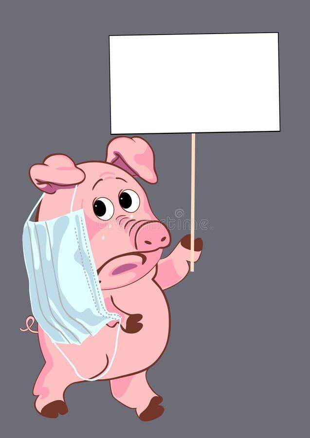Free Sad Pig With A Sign Stock Photos - 9243823