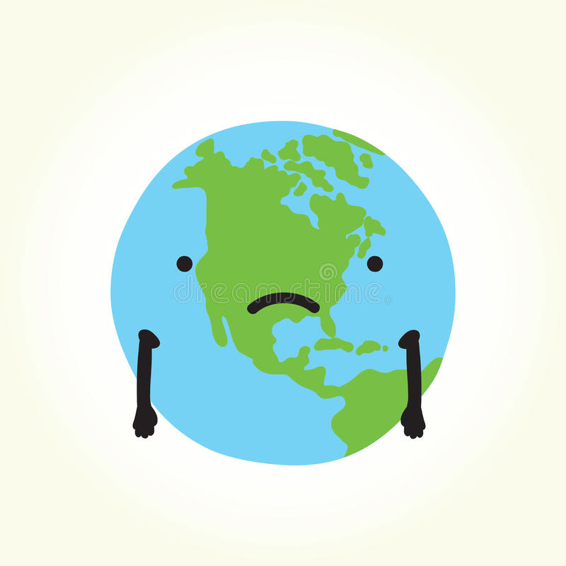 Sad planet Earth stock vector. Illustration of problem ...