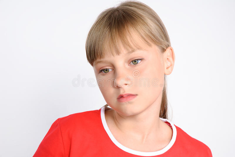 Sad preteen girl, Teenager's problems royalty free stock photography
