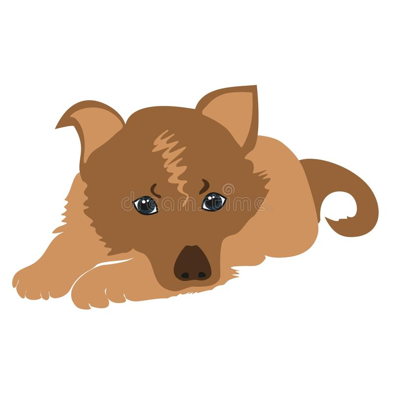 Sad puppy vector. Cute cartoon puppy lying vector illustration. Sad puppy vector. Pet Dog lying. Cartoon dog sad isolated royalty free illustration