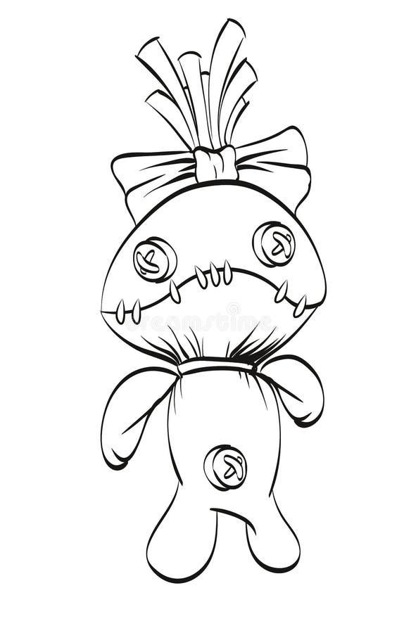 A sad rag doll with a bow on his head. Sad rag doll with a bow on his head. Vector illustration vector illustration