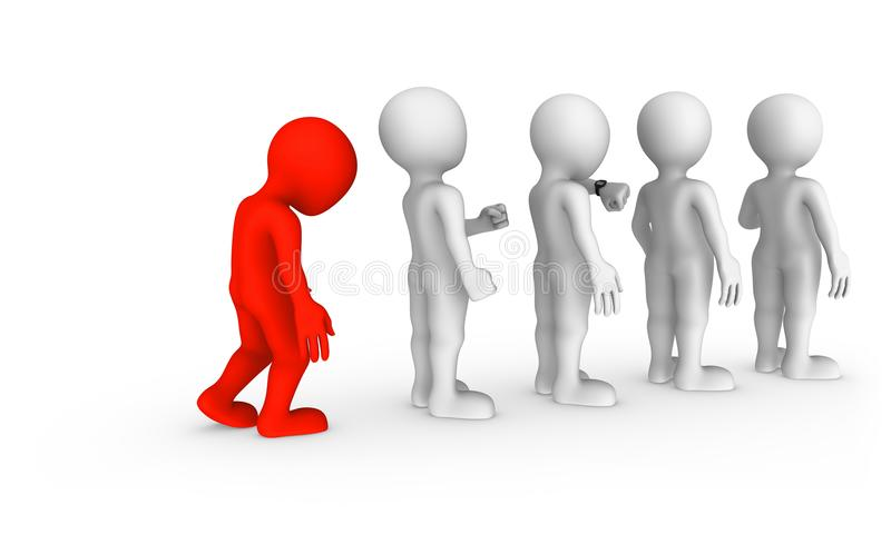 The sad red man stands in a queue. 3d rendered illustration royalty free illustration