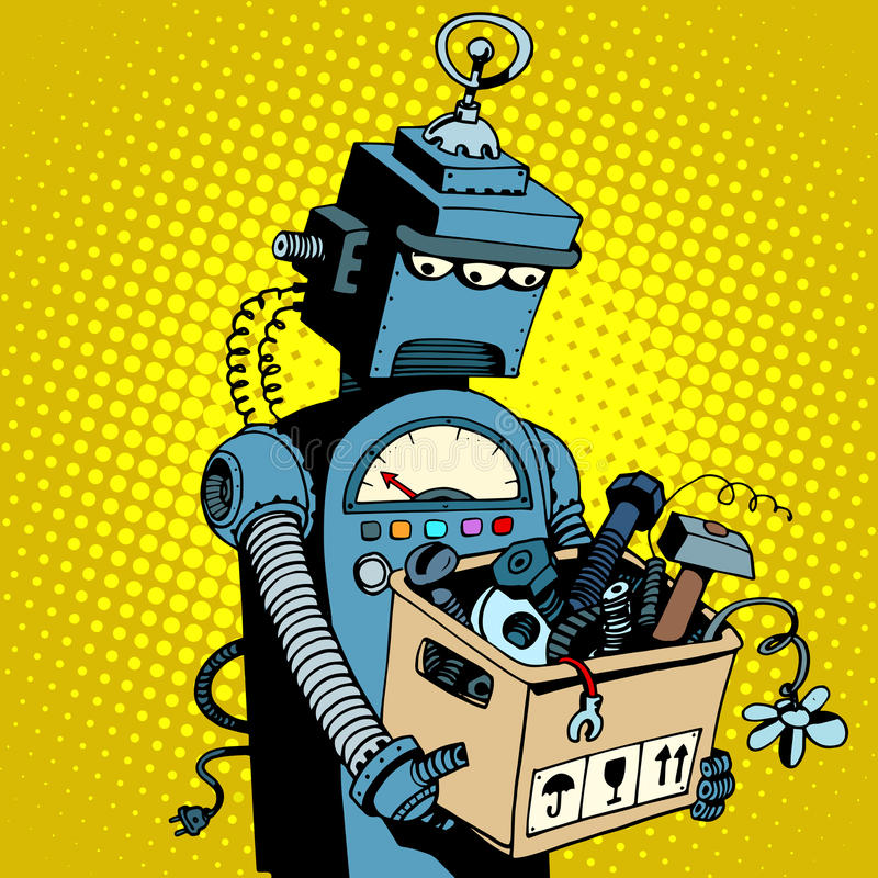 Sad retro robot leaves work. Pop art retro style. New technology outdated technology royalty free illustration