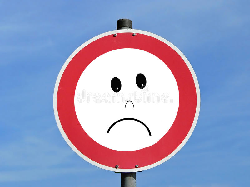 Sad road traffic sign. Illustration depicting a road traffic sign with a sadness concept. Sky background stock photography