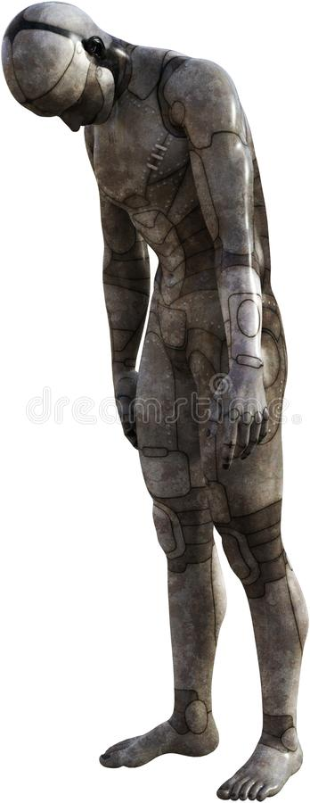Sad Robot Android Man, Isolated. Illustration of a sad robot android cyborg man. Isolated on white. PNG file available vector illustration