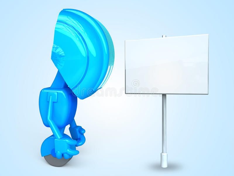 Sad Robot With Sign Royalty Free Stock Images