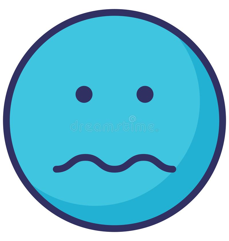 Sad, sad face Vector Isolated Icon which can easily modify or edit royalty free illustration