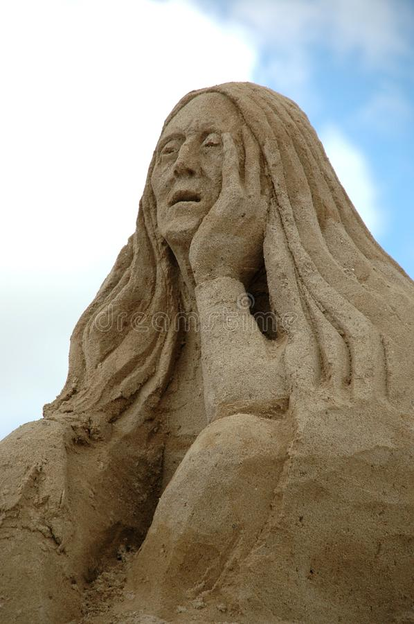 Sad sand woman stock images
