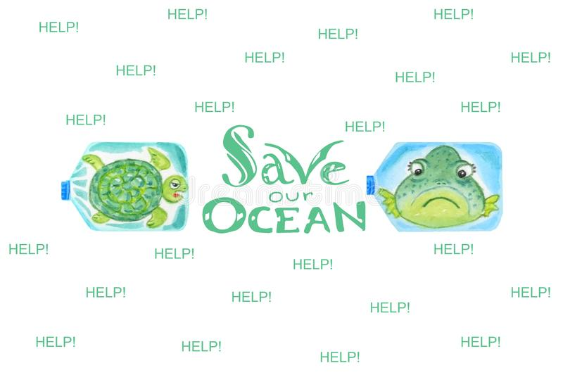 Sad sea animals in plastic bottles are unhappy with ocean pollution. Inscription Save our ocean royalty free illustration