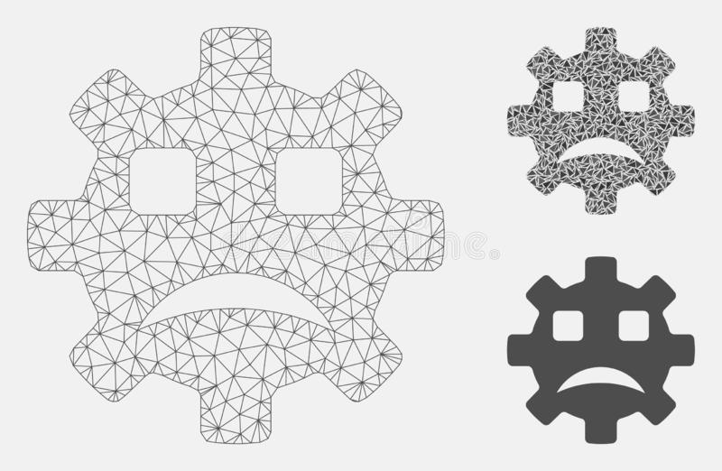Sad Service Gear Smiley Vector Mesh Network Model and Triangle Mosaic Icon vector illustration