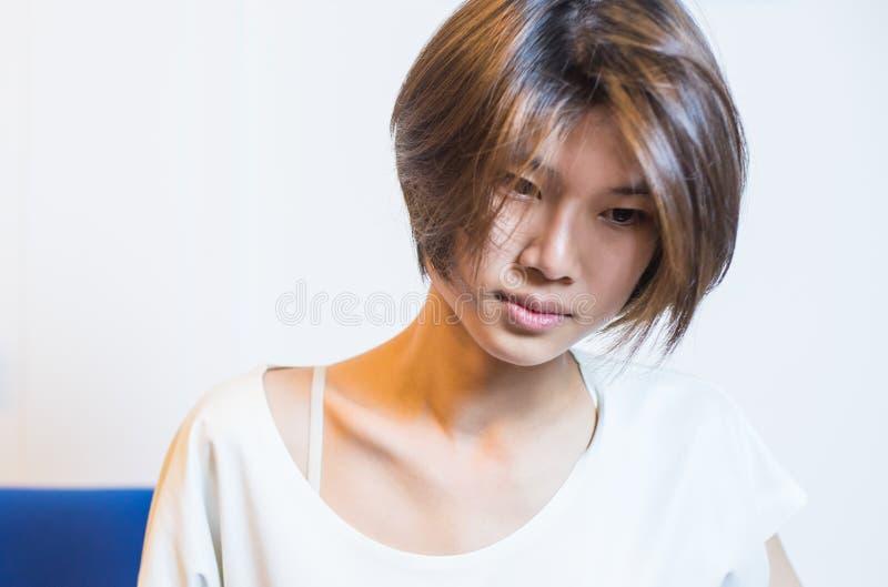 Sad Short Hair Asian Chinese Girl In Vintage Tone Stock Image - Short hair on asian