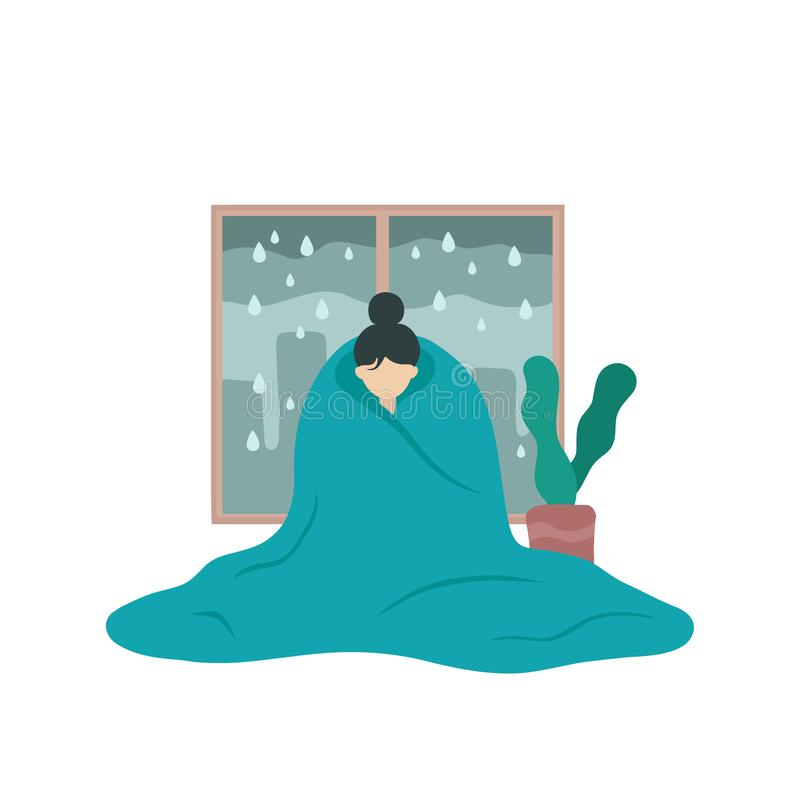 Sad sick woman in depression covered with blanket stock illustration
