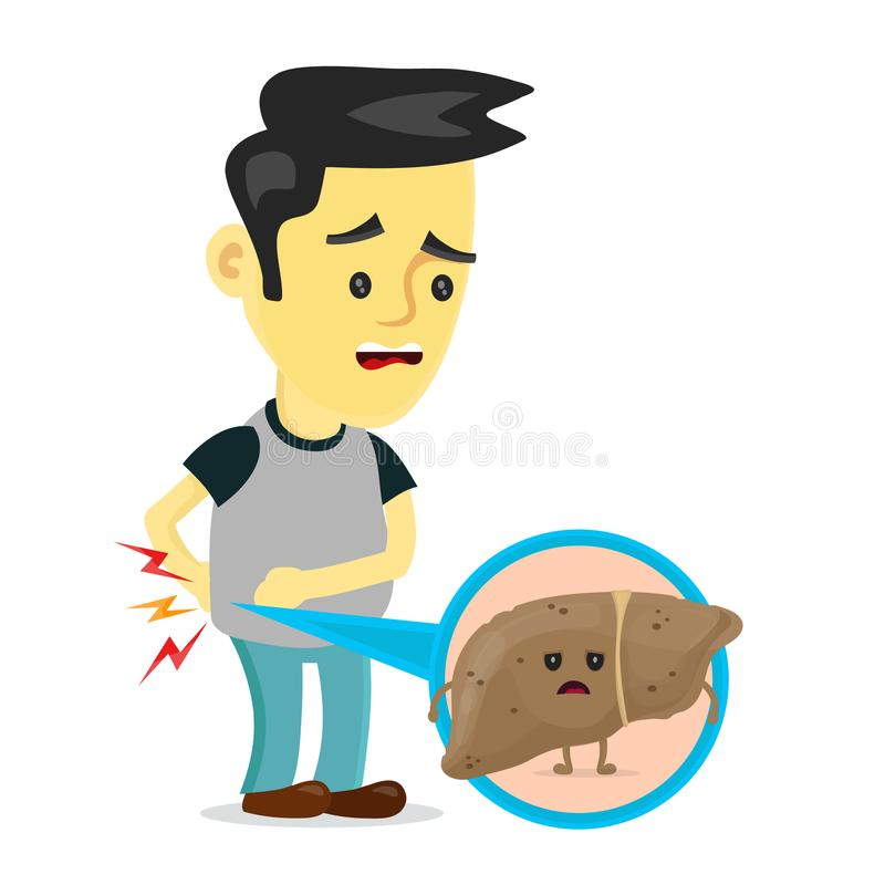 Sad sick young man with unhealthy liver vector illustration