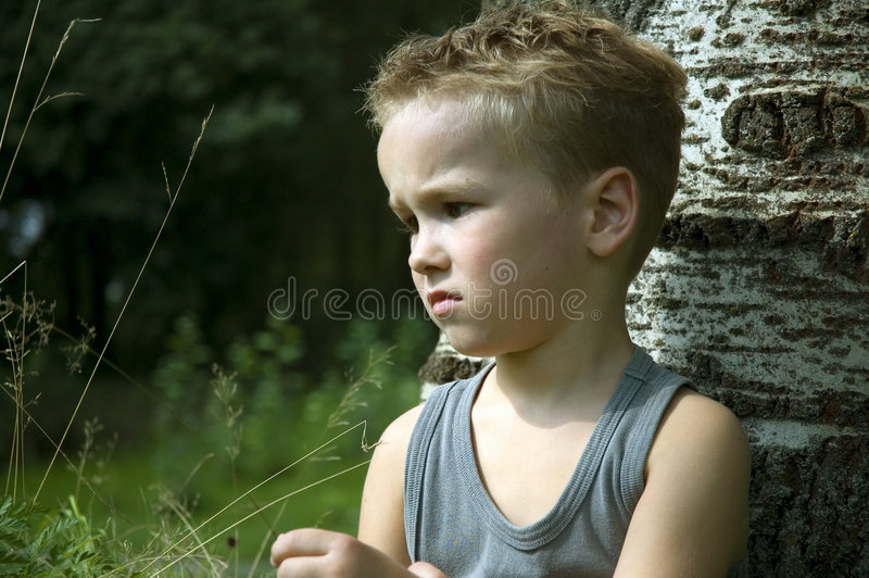 Sad six year old stock photo