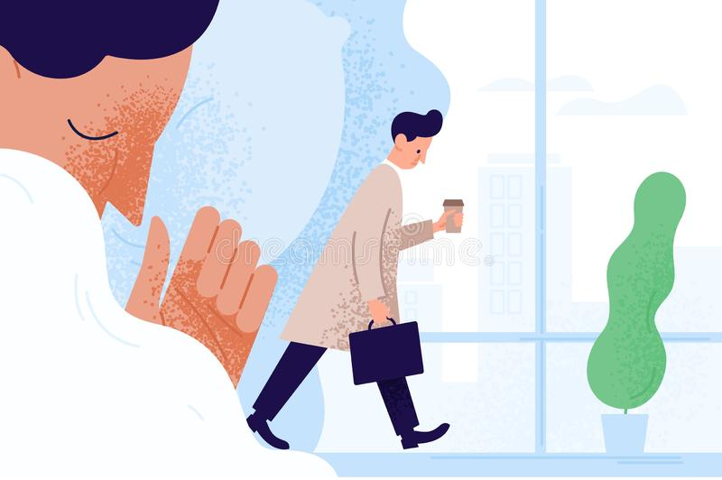 Sad sleepy man or clerk holding paper coffee cup, going to work and dreaming about get sleep. Morning fatigue, tiredness. And sleepiness of office worker stock illustration