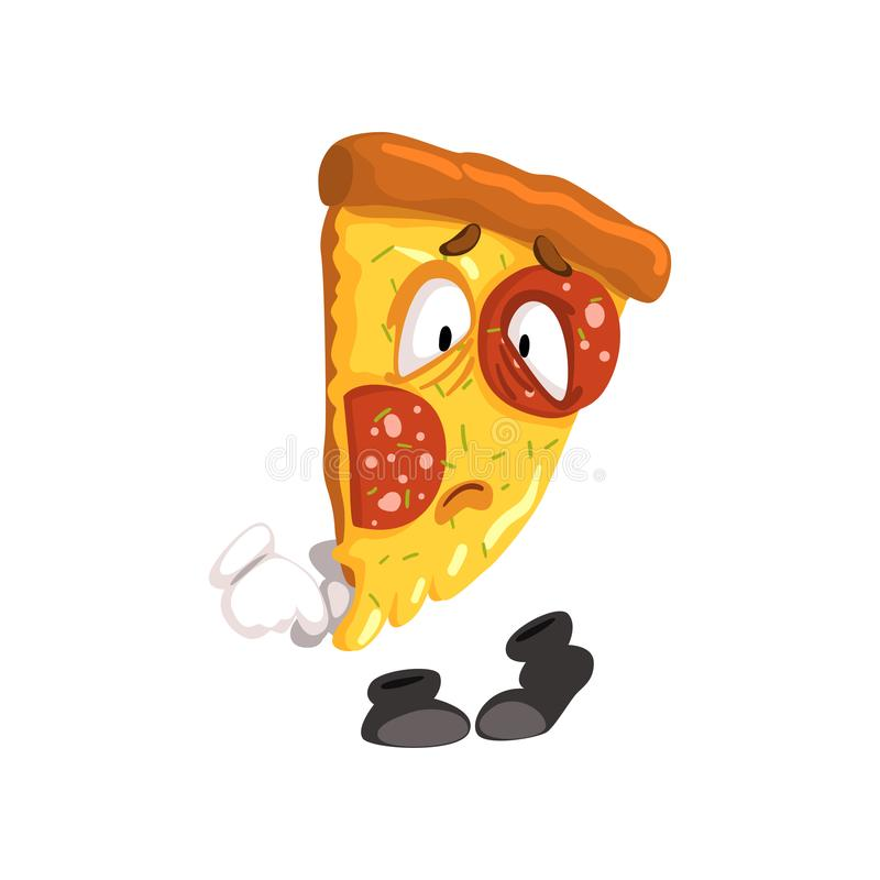 Sad slice of pizza, funny cartoon fast food character vector Illustration on a white background. Sad slice of pizza, funny cartoon fast food character vector stock illustration