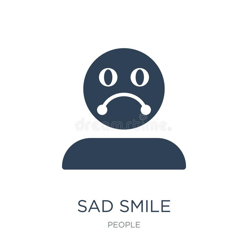 Sad smile icon in trendy design style. sad smile icon isolated on white background. sad smile vector icon simple and modern flat. Symbol for web site, mobile stock illustration
