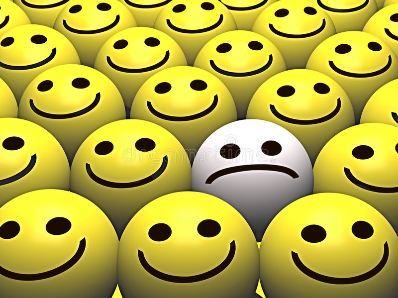 Sad smiley in a crowd of happy smileys royalty free illustration
