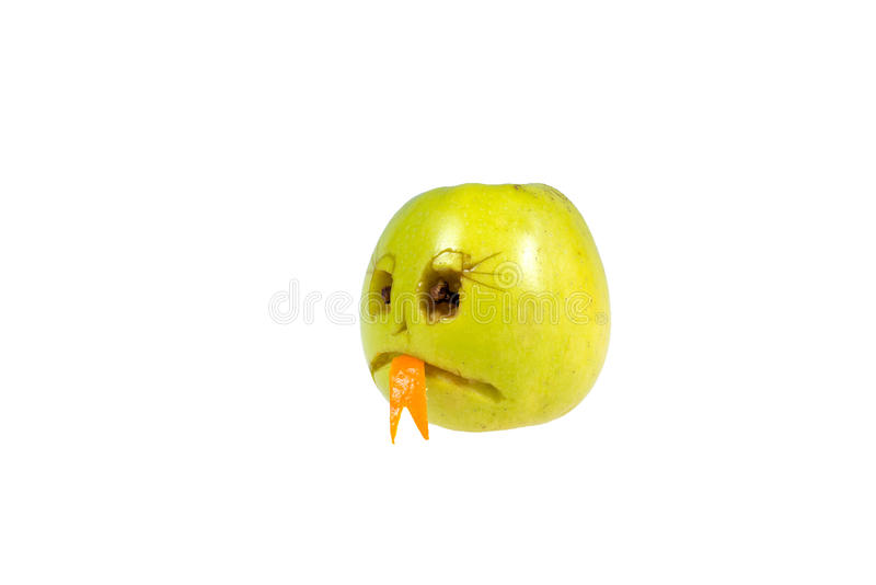 Sad smiley evil out of the apple. Feelings, attitudes and emotions. Sad smiley evil out of the apple. Feelings, attitudes and emotions royalty free stock photography