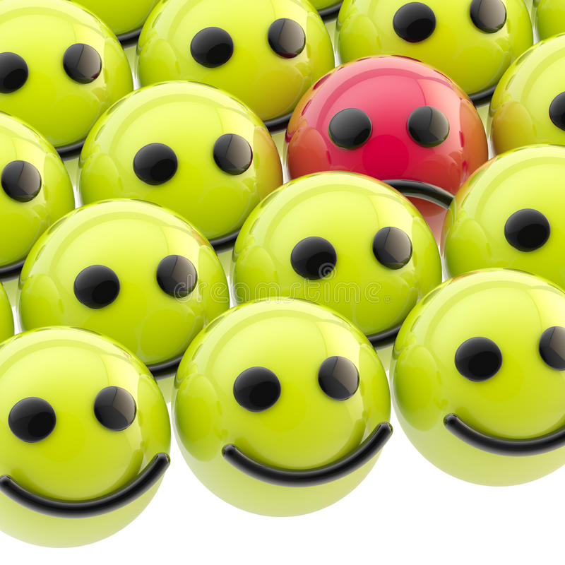 Sad smiley face among happy ones stock illustration