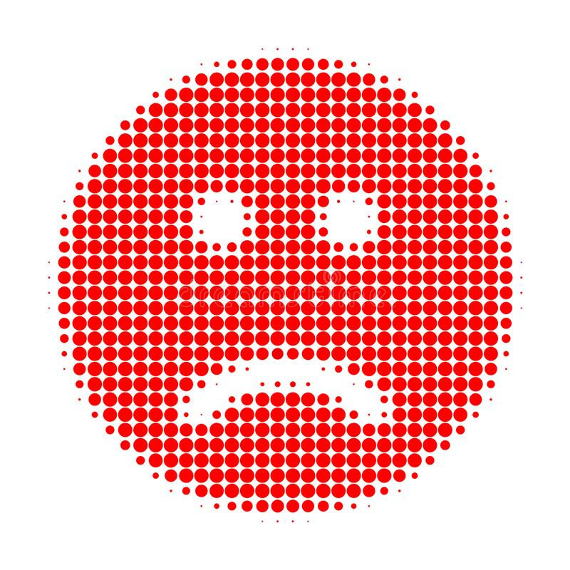 Sad Smiley Halftone Dotted Icon vector illustration