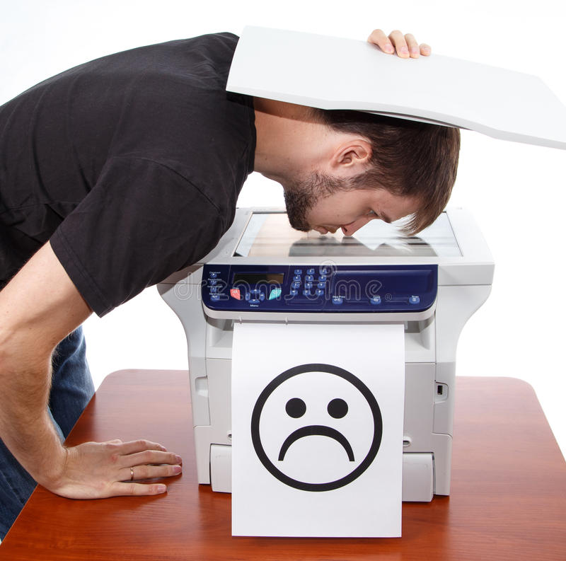 Free Sad Smiley On Scan Of Man Face Stock Photos - 44554553