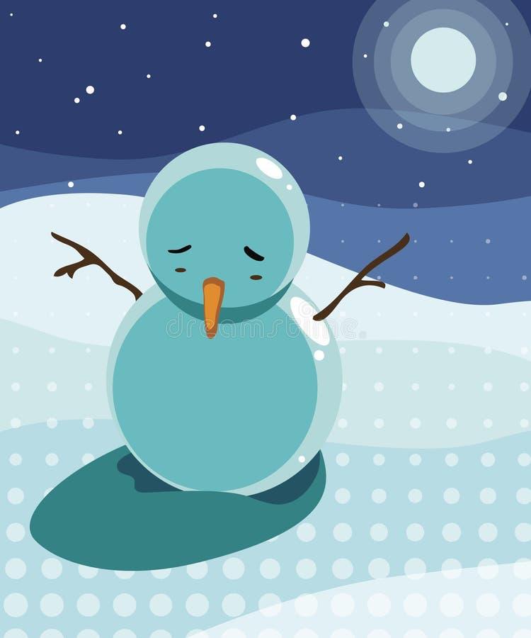 Sad snowman under the moon light stock illustration
